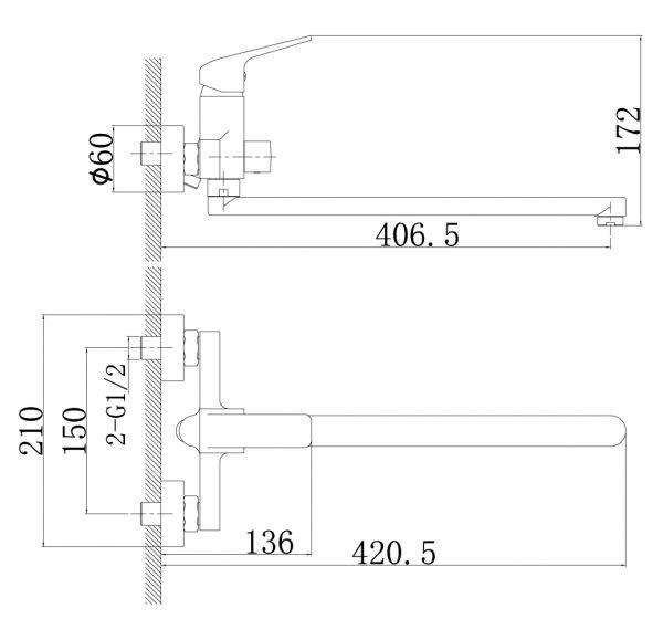 RS37-32 Смеситель одноручный (35мм)  универсал с поворотным изливом 350мм, дивертор с кер. пласт