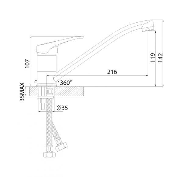 B35-21U Смеситель одноручный (35мм) для кухни с поворотным изливом 250мм, крепл.универс., хром