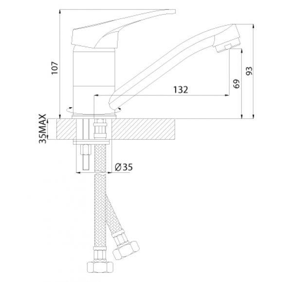 B35-22U Смеситель одноручный (35мм) для умывальника с поворотным изливом 150мм, крепл.универс., хром