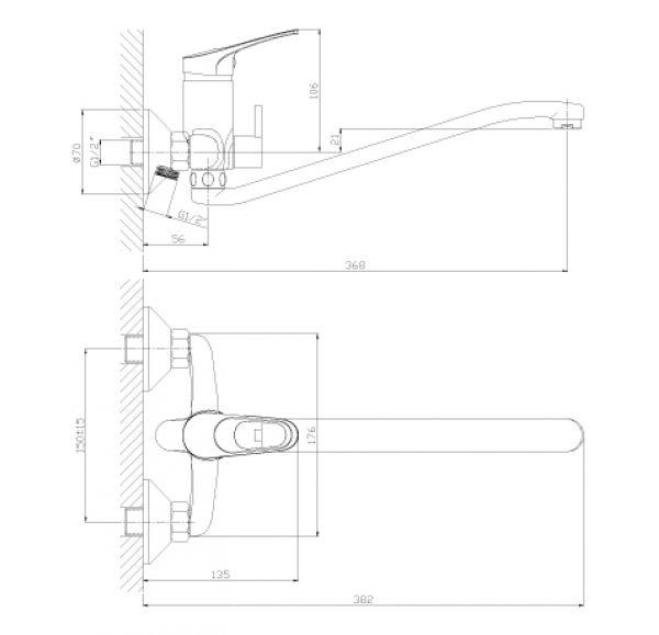 B35-34 Смеситель одноручный (35мм) универсальный с S-образным поворотным изливом, див. с керам. плас