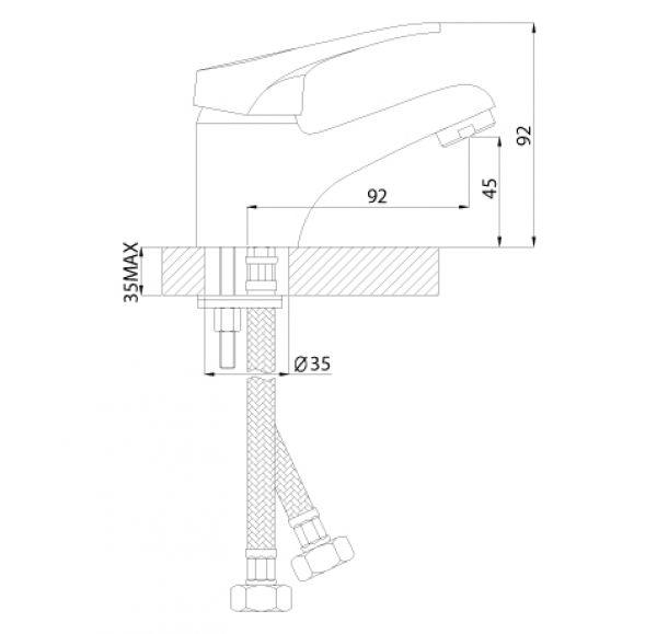 B35-11 Смеситель одноручный (35мм) для умывальника, монолитный, хром