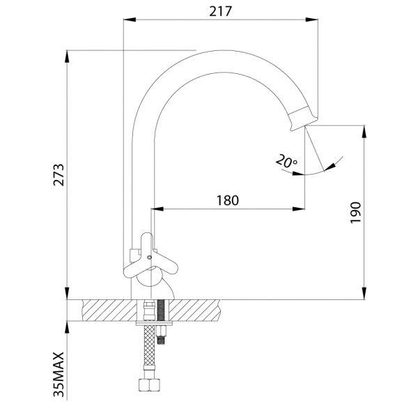 RS40-72 Смеситель двуручный для кухни с поворотным изливом 273мм, хром