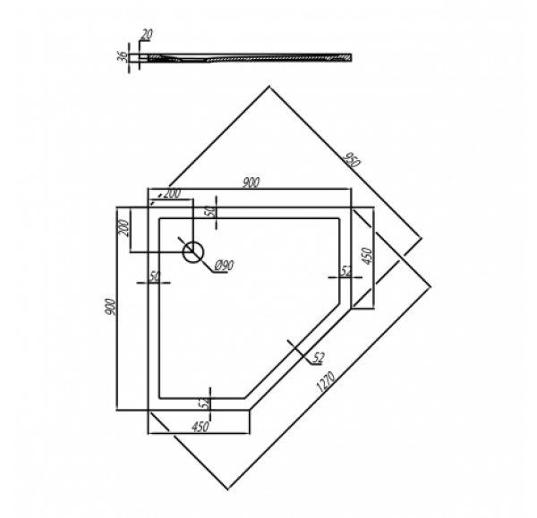 Душевой поддон Калифорния 90x90  пятиугольник 1A714836CA010