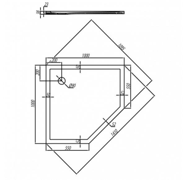 Душевой поддон Калифорния 100x100  пятиугольник 1A714936CA010