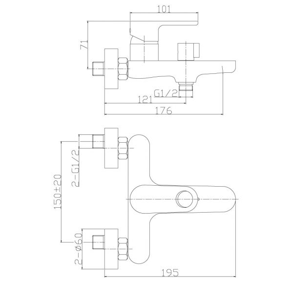RS33-31 Смеситель одноручный (35мм)  для ванны с коротким изливом, хром
