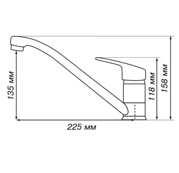 АРКОС Смеситель для кухни серый шелк 1AX001FCXX250