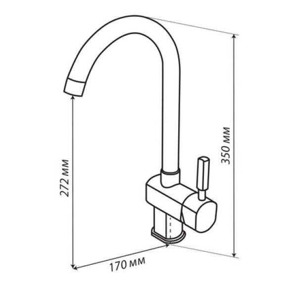 ЛИАМ Смеситель для кухни графит 1AX003FCXX210