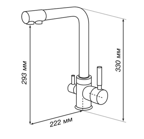 РУАН Смеситель для кухни фильтр графит 1AX004FCXX210