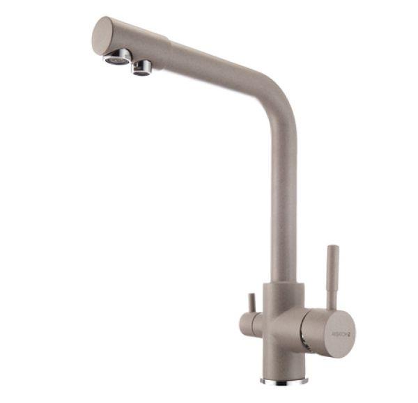РУАН Смеситель для кухни фильтр серый шелк 1AX004FCXX250