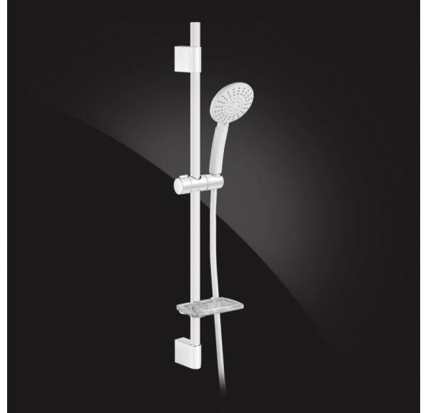 Shower Rail Гарнитур душевой с мыльницей, шлангой и лейкой SB-92S-White, белый