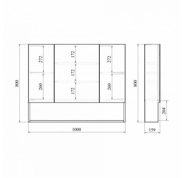 Мальта 100 зеркало-шкаф дуб белый