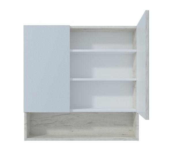 Мальта 80 зеркало-шкаф дуб белый