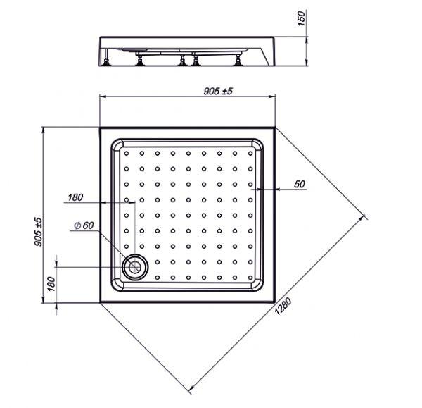 Поддон Nova Square 90*90 (квадратный)
