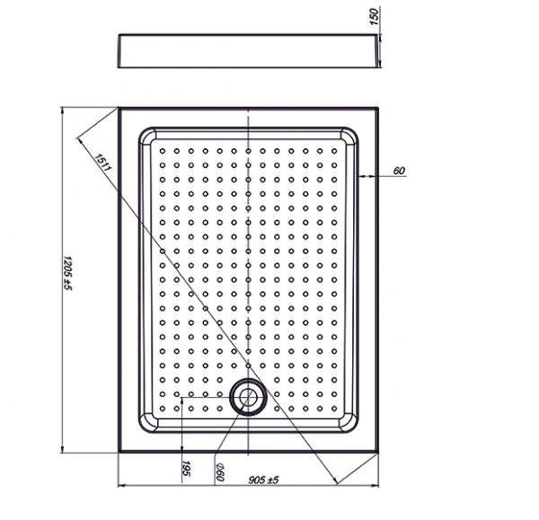 Поддон Nova Square 120*90 (прямоугольный)