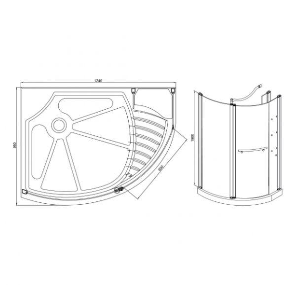 Душевые ограждения Pandora 950*1240 *1900  ( стекло 2 подв. + 2 неподв.) матированное полностью