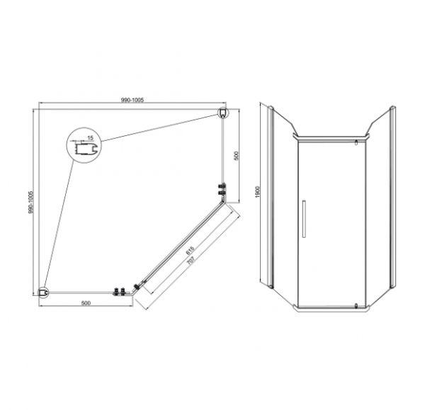 Душевые ограждения Quadro new 1000*1000*1900 (стекло 1 подв. + 2 неподв.)
