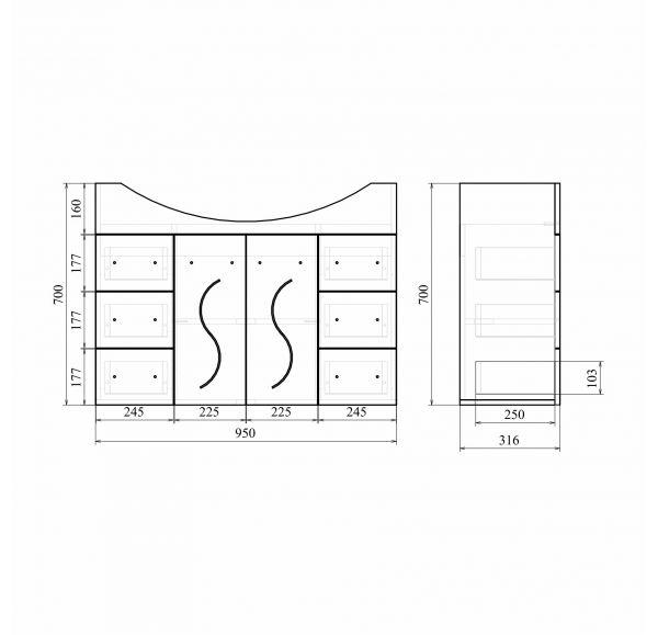 Сандра 100 тумба белая ( 2 двери, 6 ящиков) (Эльбрус 100)