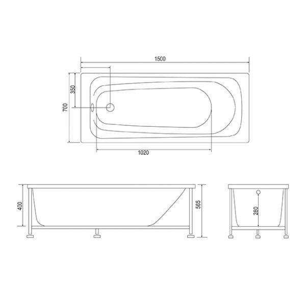 Ванна Standard 150*70, каркас с установочным комплектом, фронтальная панель