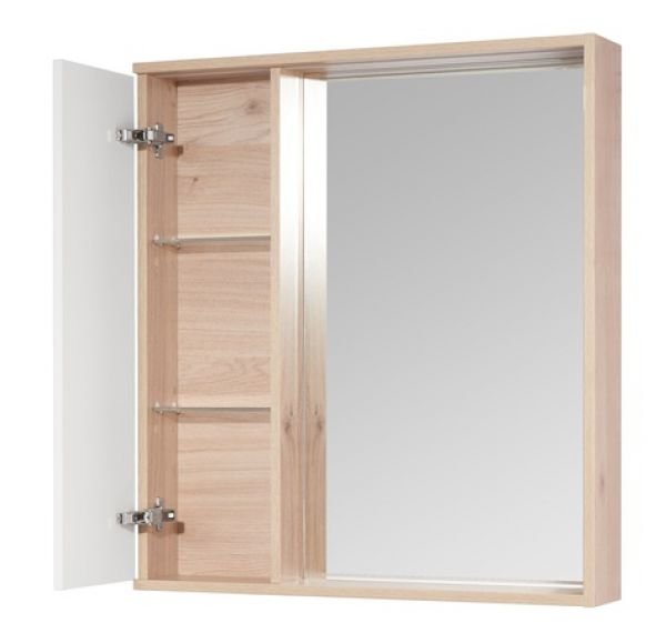 Бостон 75 зеркальный шкаф дуб эврика 1A240302BN010