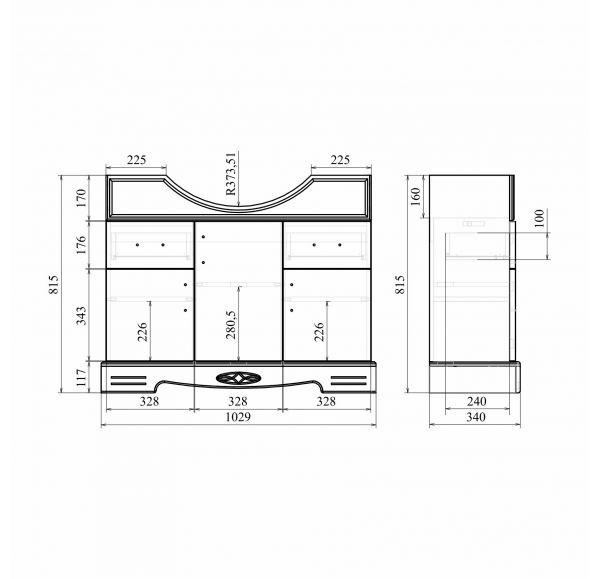 Версаль Premium 105 тумба белое золото (Ясень)