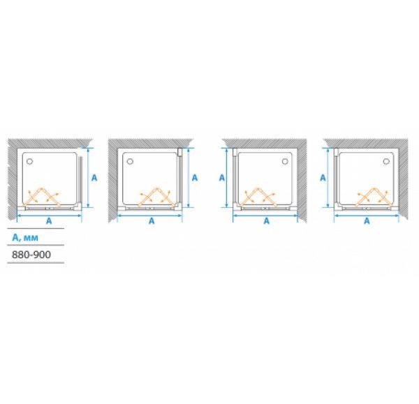 Душевое ограждение PRIMA  квадратное 90*90*190