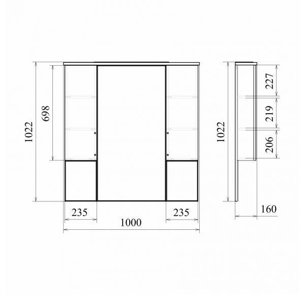 Камилла 100 зеркало-шкаф с двумя ящиками 100*100