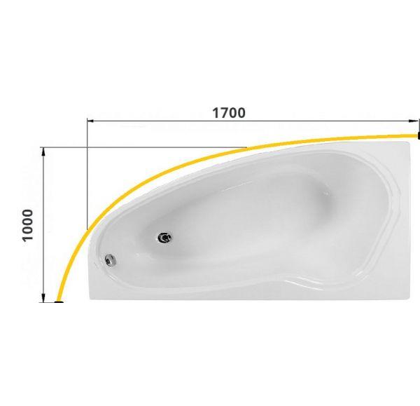 Карниз для ванны ЯЛТА 1700х1000 труба Д=25
