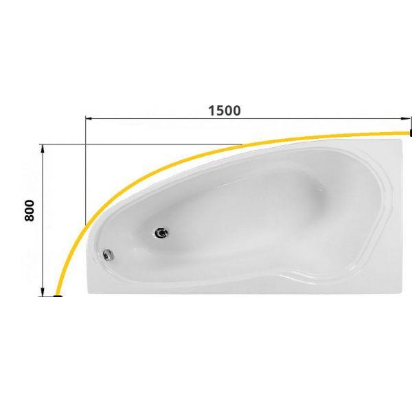 Карниз для ванны НЕБУГ 1500х800 труба Д=25