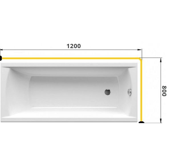 Карниз для ванны Г-образный 1200*800 труба Д=25