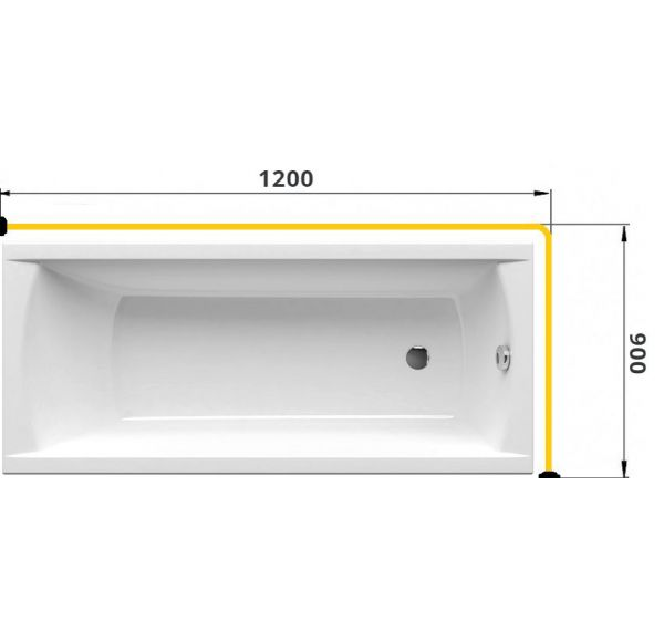 Карниз для ванны Г-образный 1200*900 труба Д=25