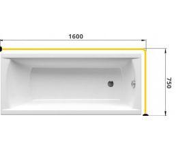 Карниз для ванны Г-образный 1600*750 труба Д=25