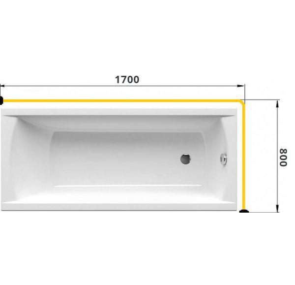 Карниз для ванны Г-образный 1700*800 труба Д=25