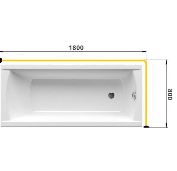 Карниз для ванны Г-образный 1800*800 труба Д=25