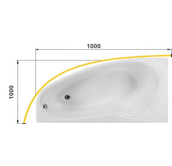 Карниз для ванны дуговой 1000*1000 труба Д=25