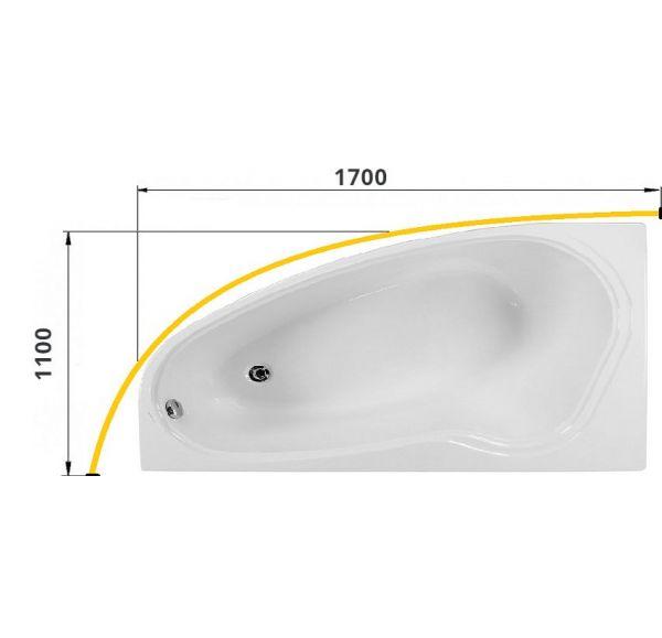 Карниз для ванны МАССАНДРА 1700х1100 труба Д=25