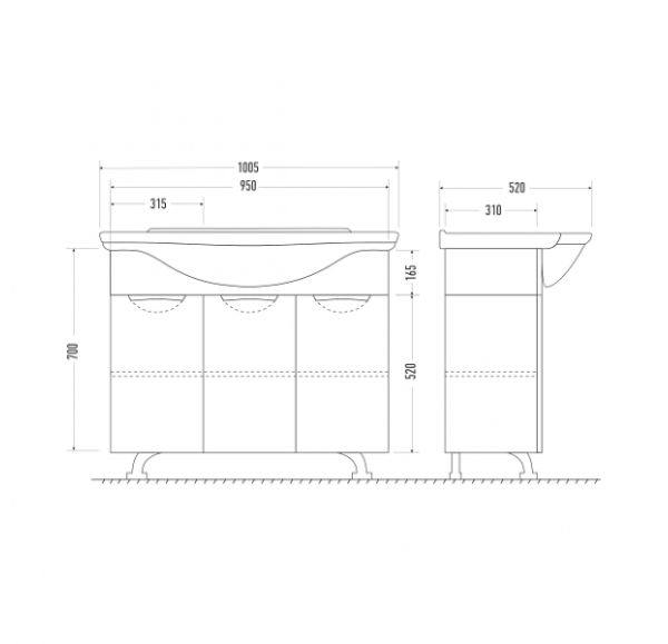 Камилла 100/3 тумба белая с 3-мя распашными фасадами (Эльбрус 100)