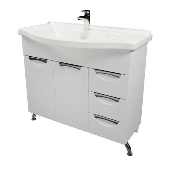 Камилла 90 тумба белая с 3-мя выдвижными ящиками (Эльбрус 90)